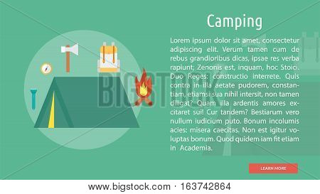 Camping Conceptual Banner | Great flat icons design illustration concepts for holiday, recreations, traveling, banner and much more.