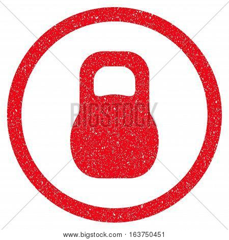 Weight grainy textured icon for overlay watermark stamps. Flat symbol with unclean texture. Dotted vector red ink rubber seal stamp with grunge design on a white background.