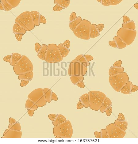 Seamless pattern with ruddy croissants for wrapping, kraft, cards, textile, print. Croissant with sesame seeds.Bakery products background. Vector colorful illustration