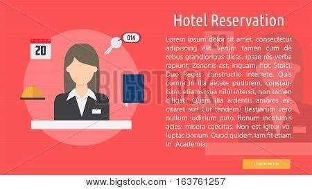 Hotel Reservation Conceptual Banner | Great flat icons design illustration concepts for business, industry, people, banner and much more.