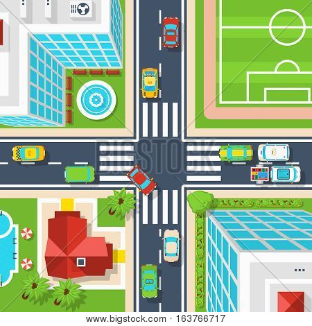 Poster of crossroad in city with buildings field vehicles and other top view flat vector illustration