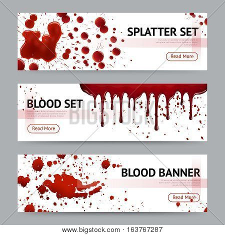 Blood splatters sets realistic 3 horizontal banners webpage design with read more button grey background isolated vector illustration