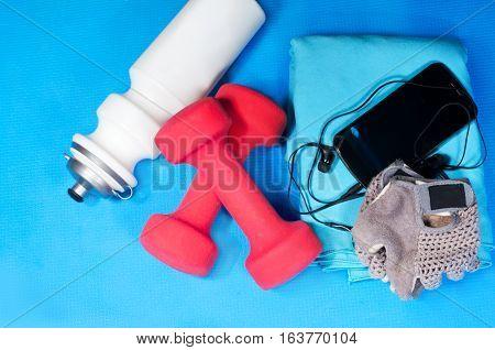 Sport items - bottle, dumbbels, towel, gloves - on the sport mat