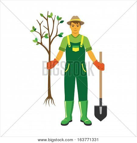 Gardener with agriculture farming tools on white. Spring garden equipment flat illustration. Vector green plants cartoon tree graphic element. Man shovel taking care of nature.