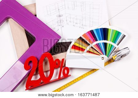 Plan and design of the kitchen. The color palette and Roulette with twenty percent discount
