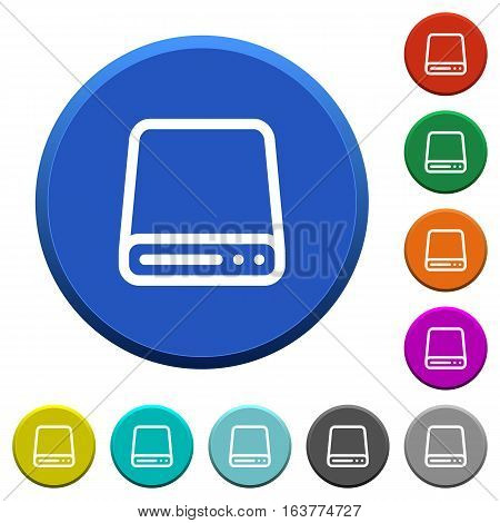 Hard disk drive round color beveled buttons with smooth surfaces and flat white icons