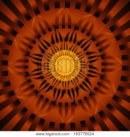 Abstract Exotic Flower. Psychedelic Mandala Design In Dark Orange, Yellow And Black Colors. Fantasy