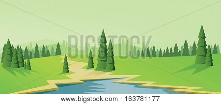 Digital vector abstract background with pines, blue lake and mountains, flat triangle style