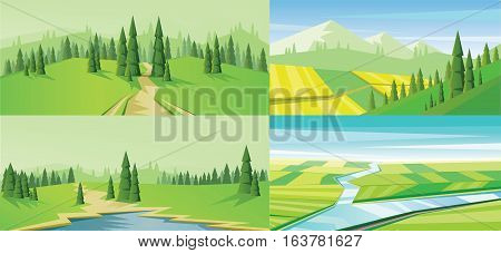 Digital vector abstract background set with a road, lake, pines and mountains, flat triangle style