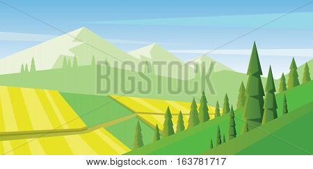 Digital vector abstract background with pines and mountains, flat triangle style