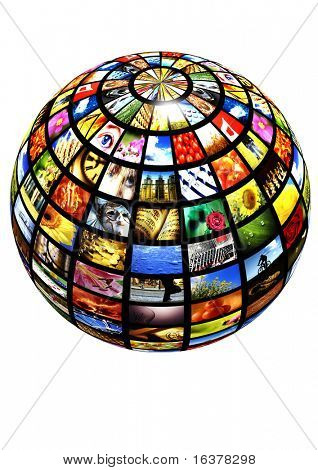 sphere with many pictures over a white background as concept for digital tv - new media