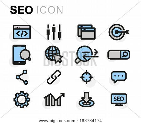 Vector flat seo icons set on white background