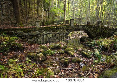 Stone Footbridge In The Great Smoky Mountains National Park. Bridge through the wilderness in the Elkmont District of the Great Smoky Mountains National Park. Gatlinburg, Tennessee