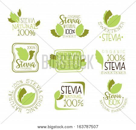 Stevia Natural Food Sweetener Additive And Sugar Substitute Set Of Green Color Design Logo Templates With Plant Leaves. Alternative Organic Sweet Promo Labels With Text Vector Illustrations.