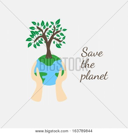 Tree on earth ecology concept.Vector illustration in flat design style. Creative drawing on global environment. Modern template for infographics or logo. Isolated on white background.