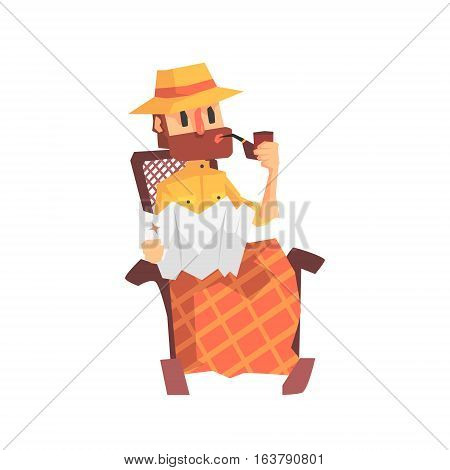 Adventurer Archeologist In Safari Outfit And Hat Smoking In Rocking Chair Illustration From Funny Archeology Scientist Series. Cartoon Male Indiana Jones Style Tombraider Character Vector Drawing.