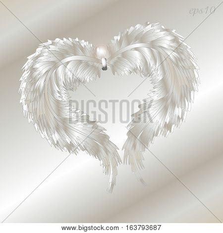 Silver feather heart Abstract holiday for love fluffy gift greeting object two-ring design of the author handmade fender glint pattern eps10 Stock vector illustration