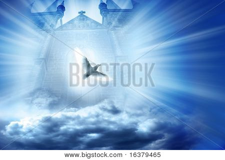 gate with beams of light coming through it and white dove, conceptual illustration for divine spirit