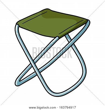 Folding stool icon in cartoon design isolated on white background. Fishing symbol stock vector illustration.