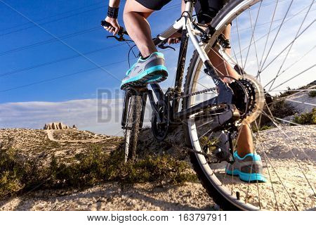 Extreme sports.Mountain bicycle and man.Life style outdoor extreme sport