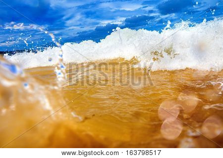 Sea abstract background .Wave and beach.Seascape and blue sky