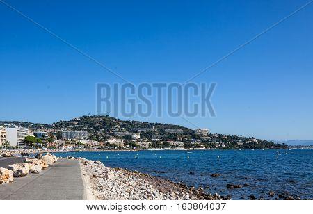 View from Cap de la Croisette to Palm Beach at Point Croisette in Cannes Cote d'Azur France