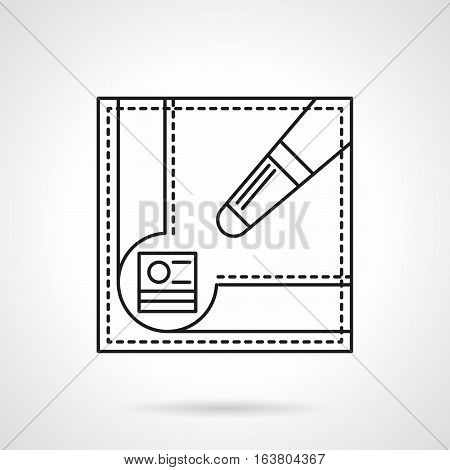 Symbol of accessories for billiards. Pool table corner pocket with chalk block and part of cue. Billiard sport and competition. Flat black line vector icon.