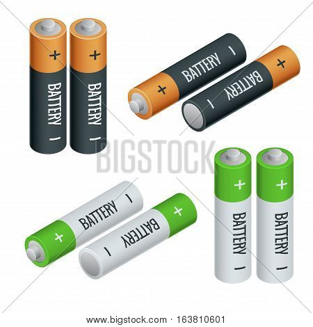 Battery electricity charge technology and alkaline battery. Flat battery-accumulator charger symbol generation voltage. Group of different size color electricity charge technology.