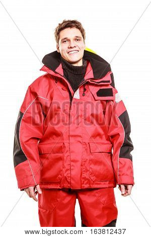 Young Man In Waterproof Clothing.