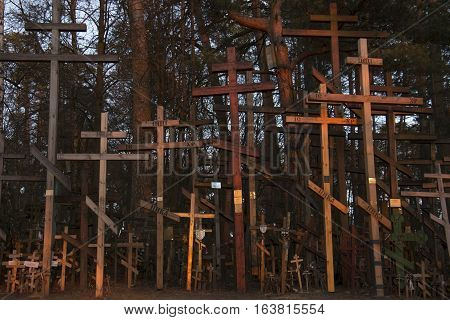 Crosses on Russian Orthodox cemetry at dawn