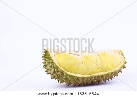 yellow durian  mon thong and durian peeled is king of fruits durian and  fruit plate tropical durian on white background healthy durian fruit food isolated