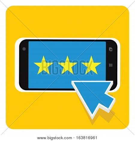 simple rating select on smartphone vector illustration