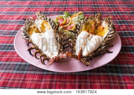 Authentic Large Thai River Prawn Grilled On Plate