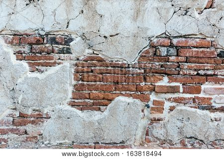 Weathered texture of stained old dark brown and red brick wall background grungy rusty blocks of stone-work technology colorful horizontal architecture