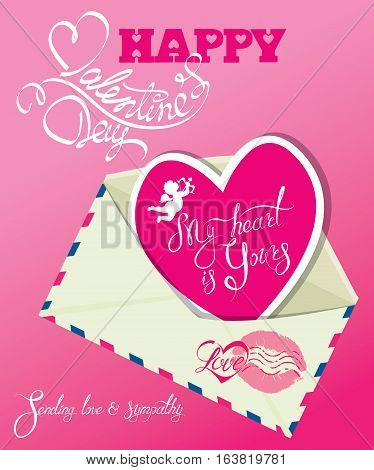 Vintage card with envelope and pink paper heart. Calligraphic hand written text Happy Valentines Day My Heart is yours Sending love and sympathy.