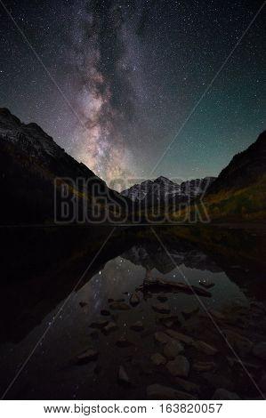 Milky Way Over Maroon Bells Colorado, Fall