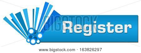 Register text written over blue abstract background.
