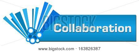Collaboration text written over blue abstract background.