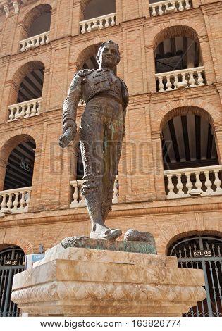 Statue Toreador Manolo Montoliu, Plaza De Toros, Valencia, Spain