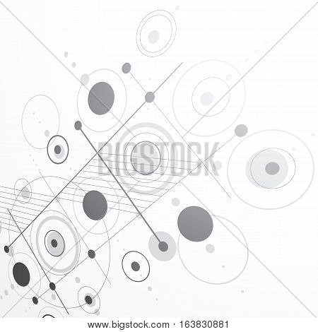 Modular Bauhaus 3d vector grayscale background created from simple geometric figures like circles and lines. Best for use as advertising poster or banner design.