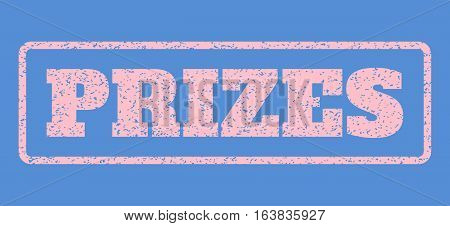 Pink rubber seal stamp with Prizes text. Vector message inside rounded rectangular banner. Grunge design and dirty texture for watermark labels. Horisontal sign on a blue background.