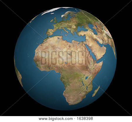 View Of Europe, Africa And Arabia