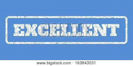 White rubber seal stamp with Excellent text. Vector tag inside rounded rectangular banner. Grunge design and dirty texture for watermark labels. Horisontal emblem on a blue background.