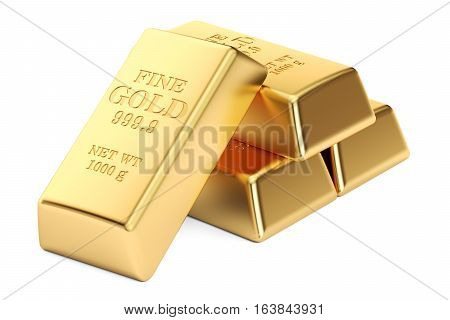 Gold ingots 3D rendering isolated on white background