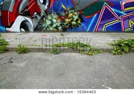 Graffiti bedeckt Wand- und überwucherten Wanderweg, Zigarettenkippen, die überall verstreut.