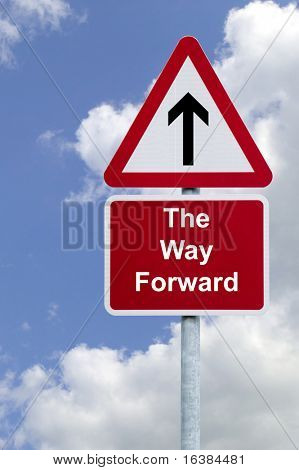 Signpost 'The Way Forward' against a blue cloudy sky, business concept image.