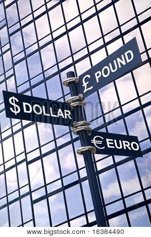 Geld-Konzept-Bild der ein Schild mit Pfund, Dollar und Euro gegen ein modernes Glas-Bürogebäude