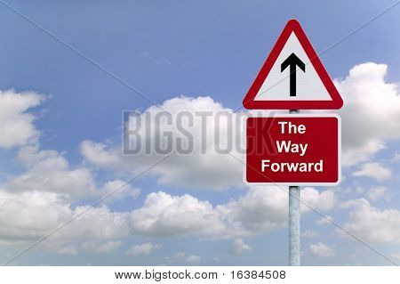 Signpost 'The Way Forward' against a blue cloudy sky background, business concept image.