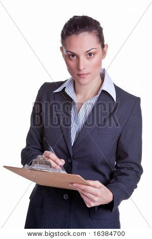 Female businesswoman holding a clipboard and pen conducting a survey, isolated on white background