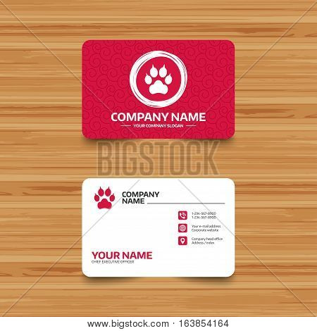 Business card template with texture. Dog paw with clutches sign icon. Pets symbol. Phone, web and location icons. Visiting card  Vector